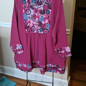 Ulla Popken, NWT, crepe tunic, 20/22, pleated